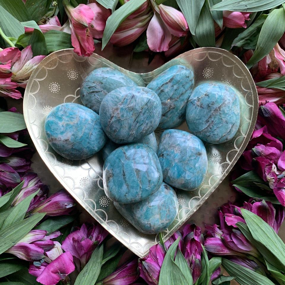"<p>chakrazulucrystals.com</p><p><strong>$15.00</strong></p><p><a href=""https://chakrazulucrystals.com/products/amazonite-palm-stone?_pos=2&_sid=5c52b3f5f&_ss=r"" rel=""nofollow noopener"" target=""_blank"" data-ylk=""slk:Shop Now"" class=""link rapid-noclick-resp"">Shop Now</a></p><p>This crystal has close connections with the heart chakra, and placing over your heart while you nap or meditate can create powerful healing. Afterwards, you may feel an urge to release your emotions and let go of the feels you've been bottling up—do it! Use amazonite in short bursts like this to rebalance yourself when you know you need to express your feelings.</p>"