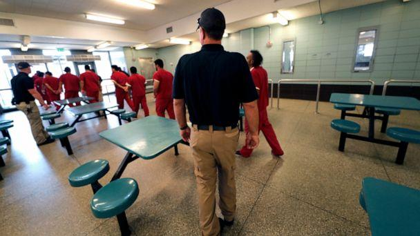 PHOTO: Detainees leave the cafeteria under the watch of guards during a media tour at the Winn Correctional Center in Winnfield, La., Sept. 26, 2019. (Gerald Herbert/AP, FILE)