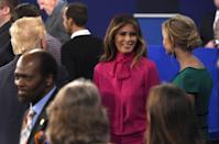 "<p>Ah, the infamous <a href=""https://www.vanityfair.com/style/2016/10/melania-trump-pussy-bow-blouse-debate"" rel=""nofollow noopener"" target=""_blank"" data-ylk=""slk:pussy-bow blouse"" class=""link rapid-noclick-resp"">pussy-bow blouse</a> (yes, that's the real name). Melania chose to wear the $1,100 top just days after a <a href=""https://www.marieclaire.com/celebrity/news/a22975/donald-trump-caught-on-hot-mic-2005/"" rel=""nofollow noopener"" target=""_blank"" data-ylk=""slk:video surfaced"" class=""link rapid-noclick-resp"">video surfaced</a> of her husband stating in a conversation with Billy Bush, ""When you're a star, they let you do it. You can do anything. Grab them by the pussy."" One of the first of many <a href=""https://www.marieclaire.com/fashion/news/a29253/melania-trump-fashion-choice-lessons/"" rel=""nofollow noopener"" target=""_blank"" data-ylk=""slk:eyebrow-raising fashion choices"" class=""link rapid-noclick-resp"">eyebrow-raising fashion choices</a> made by the first lady. </p>"