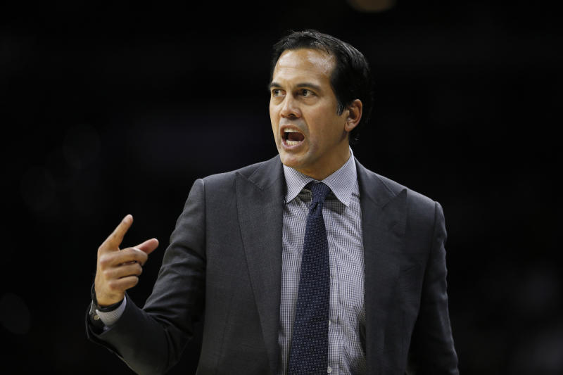 Miami Heat head coach Erik Spoelstra yells to his team during the first half of an NBA basketball game against the Philadelphia 76ers, Saturday, Nov. 23, 2019, in Philadelphia. (AP Photo/Matt Slocum)