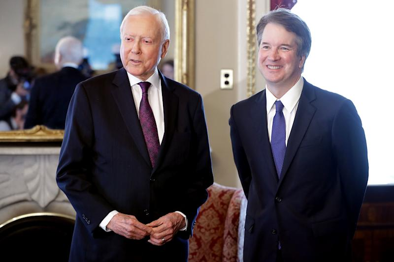 "Sen. Orrin Hatch (R-Utah), a member of the Judiciary Committee, said the sexual assault allegations against Kavanaugh are political ""smears."" (Chip Somodevilla via Getty Images)"