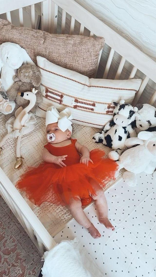 "<p>Sage is already the most fashion-forward baby we know! She showed off a few 'fits (Arnold's favorite was the red tutu) <a href=""https://www.instagram.com/p/CI6MxN6HdGX/"" rel=""nofollow noopener"" target=""_blank"" data-ylk=""slk:on Instagram"" class=""link rapid-noclick-resp"">on Instagram</a>. </p>"