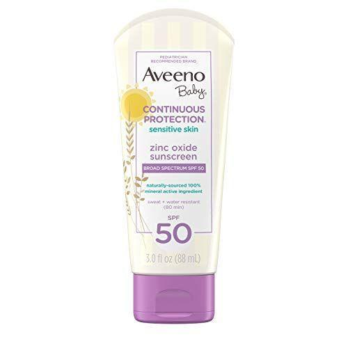 """<p><strong>Aveeno</strong></p><p>walmart.com</p><p><strong>$9.97</strong></p><p><a href=""""https://go.redirectingat.com?id=74968X1596630&url=https%3A%2F%2Fwww.walmart.com%2Fip%2F136543698&sref=https%3A%2F%2Fwww.goodhousekeeping.com%2Fhealth%2Fg20688867%2Fbest-sunscreen-for-kids%2F"""" rel=""""nofollow noopener"""" target=""""_blank"""" data-ylk=""""slk:Shop Now"""" class=""""link rapid-noclick-resp"""">Shop Now</a></p><p>Aveeno's baby SPF formula is a popular pick among many parents. The zinc oxide based lotion is a great mineral option, and in the brand's own clinical test, they found that it's <strong>as mild as water for babies' skin, so it won't cause irritation</strong>. Multiple reviewers say that it doesn't bother their eyes, so it's a safe option for the face, too.</p>"""