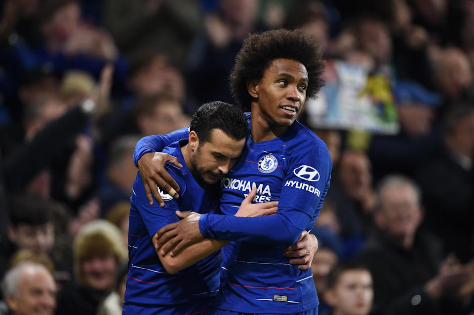 Chelsea's Pedro (left) and Willian are two of the players whose contract situations have been thrust into confusion by the Premier League's restart plan. (Photo by Harriet Lander/Copa/Getty Images)