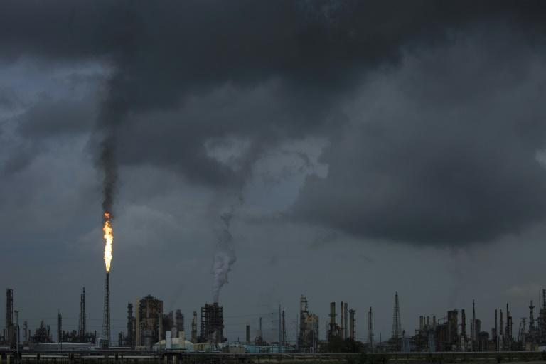 A gas flare at a Shell refinery in Norco, Louisiana