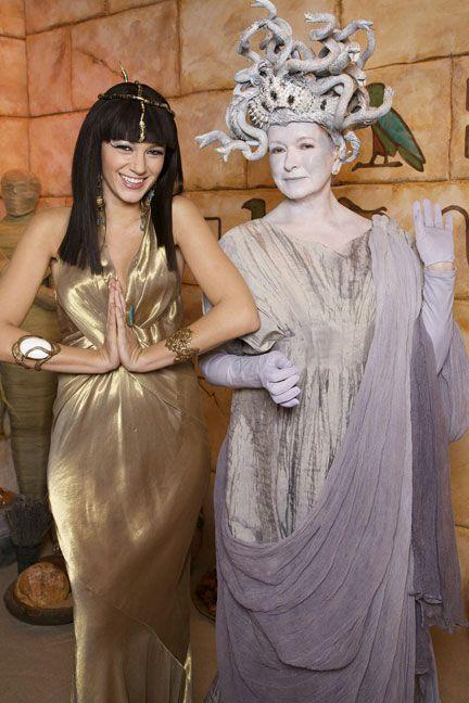 <p>As Cleopatra and Medusa.</p>