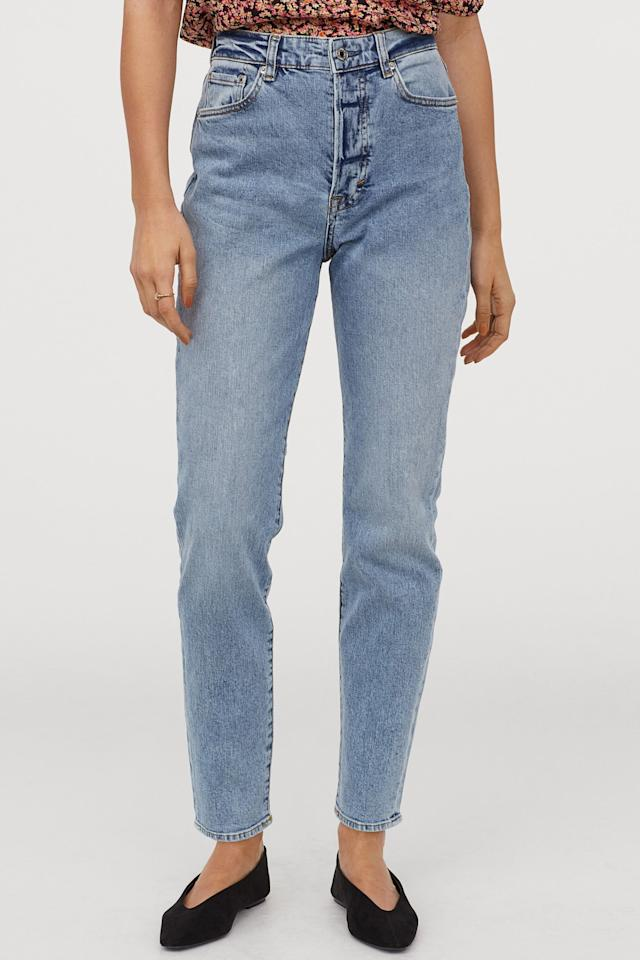 """<p>Everyone should own these <a href=""""https://www.popsugar.com/buy/HampM-Mom-High-Ankle-Jeans-540641?p_name=H%26amp%3BM%20Mom%20High%20Ankle%20Jeans&retailer=www2.hm.com&pid=540641&price=30&evar1=fab%3Aus&evar9=45826546&evar98=https%3A%2F%2Fwww.popsugar.com%2Ffashion%2Fphoto-gallery%2F45826546%2Fimage%2F47293433%2FHM-Mom-High-Ankle-Jeans&list1=shopping%2Ch%26m%2Cspring%2Cspring%20fashion%2Caffordable%20shopping&prop13=api&pdata=1"""" rel=""""nofollow"""" data-shoppable-link=""""1"""" target=""""_blank"""" class=""""ga-track"""" data-ga-category=""""Related"""" data-ga-label=""""https://www2.hm.com/en_us/productpage.0714790020.html"""" data-ga-action=""""In-Line Links"""">H&amp;M Mom High Ankle Jeans</a> ($30).</p>"""