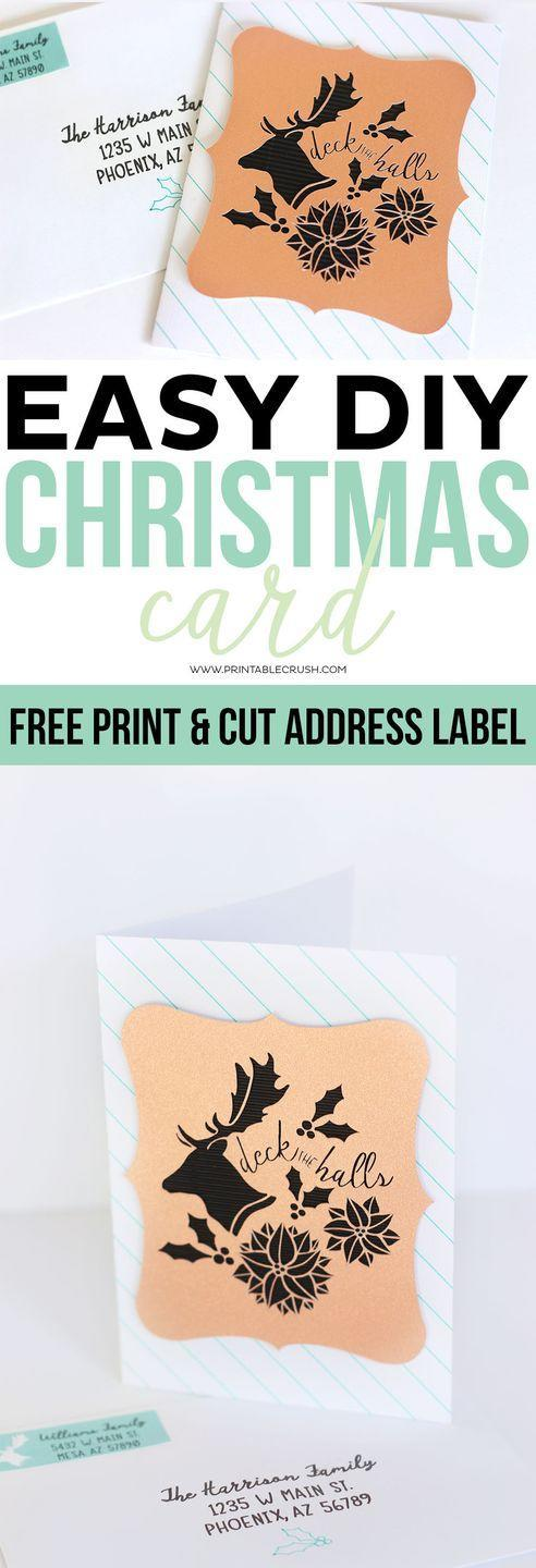 """<p>If you don't have a cutting machine, you can make a similarly elegant card using holiday-themed punch cutters or stamps. </p><p><em>Get the tutorial at <a href=""""https://printablecrush.com/diy-christmas-card-free-printable-address-label/"""" rel=""""nofollow noopener"""" target=""""_blank"""" data-ylk=""""slk:Printable Crush"""" class=""""link rapid-noclick-resp"""">Printable Crush</a>.</em></p><p><a class=""""link rapid-noclick-resp"""" href=""""https://www.amazon.com/Apple-Barrel-22489E-Acrylic-Nutmeg/dp/B079YDNQFL?tag=syn-yahoo-20&ascsubtag=%5Bartid%7C10072.g.34351112%5Bsrc%7Cyahoo-us"""" rel=""""nofollow noopener"""" target=""""_blank"""" data-ylk=""""slk:SHOP REINDEER PUNCH CUTTER"""">SHOP REINDEER PUNCH CUTTER</a></p>"""