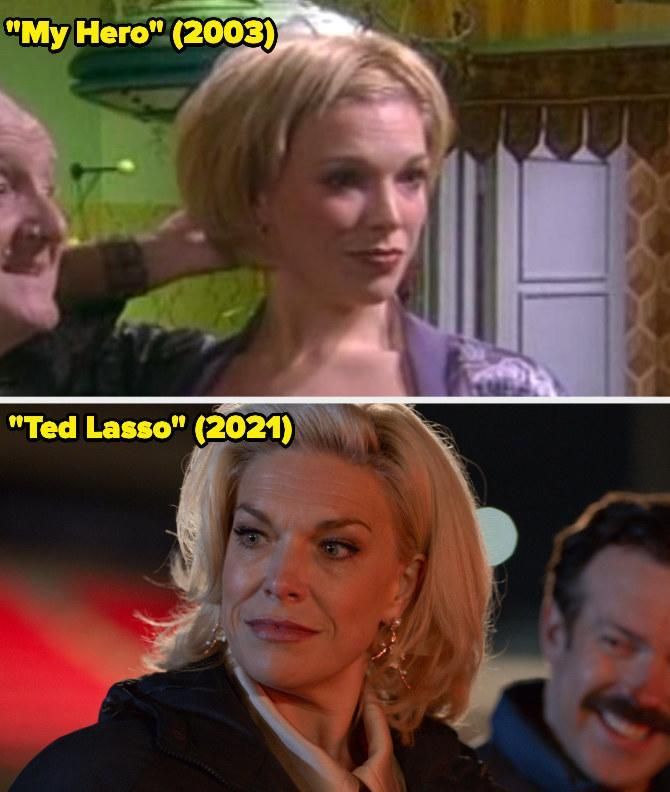 Then: She played Miranda on My Hero, and then a few years later guest-starred again and played Lula/Thermowoman.Now: She won the Emmy forOutstanding Supporting Actress in a Comedy Series for her portrayal of Rebecca Welton on Ted Lasso.