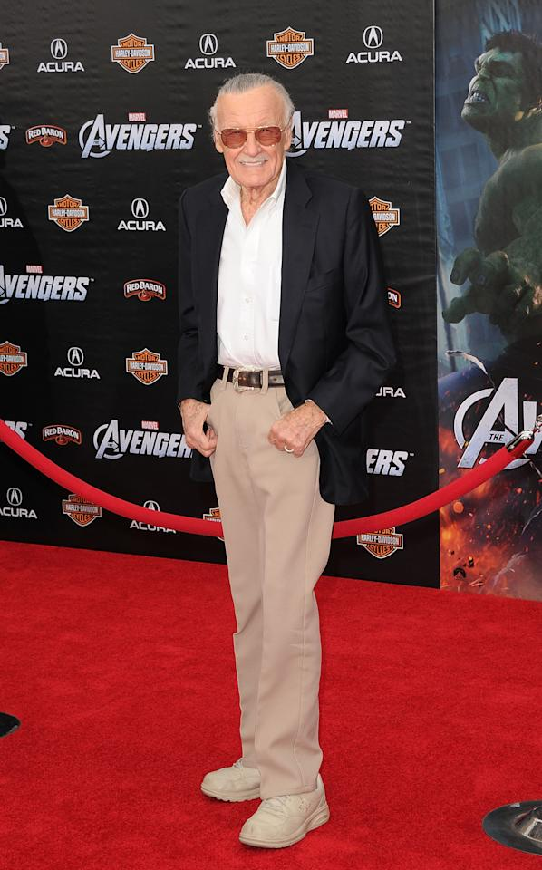 HOLLYWOOD, CA - APRIL 11:  Stan Lee arrives at the premiere of Marvel Studios' 'The Avengers' at the El Capitan Theatre on April 11, 2012 in Hollywood, California.  (Photo by Jason Merritt/Getty Images)