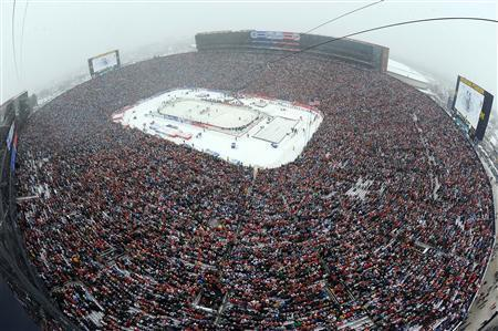 A general view from the roof of Michigan Stadium during the 2014 Winter Classic hockey game between the Detroit Red Wings and the Toronto Maple Leafs. Mandatory Credit: Noah Graham/NHLI/Pool Photo via USA TODAY Sports