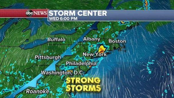 PHOTO: The East Coast is expecting strong storms Wednesday evening. (ABC News)