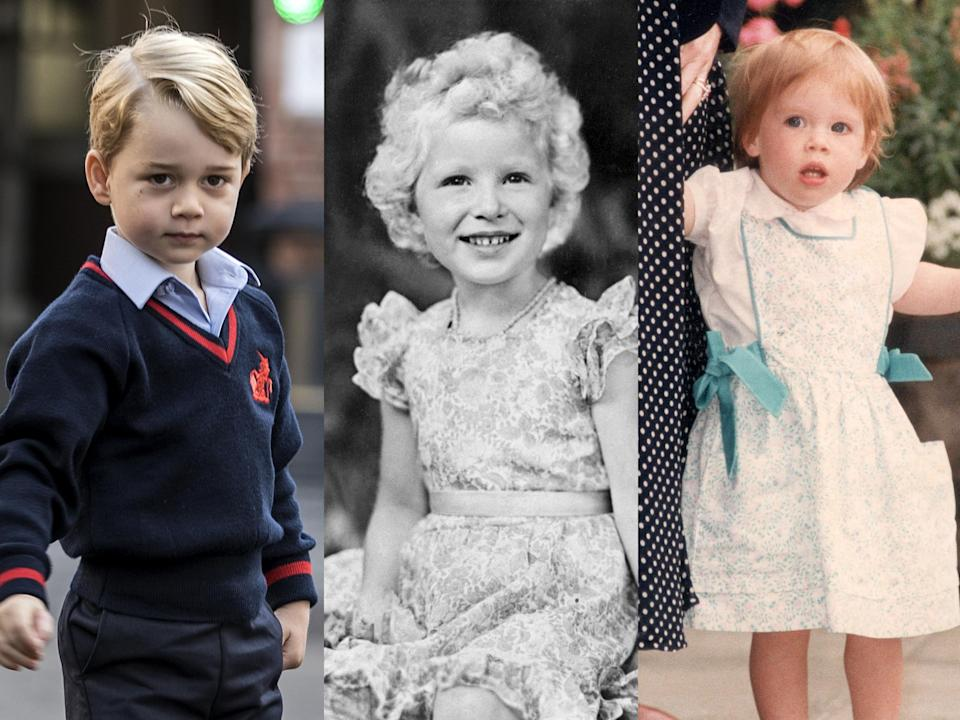 Prince George, Princess Anne and Princess Eugenie respectively (Getty Images/Rex Features)