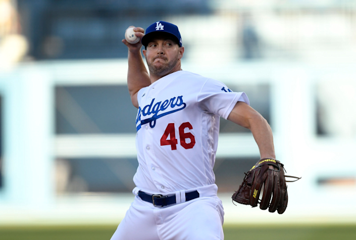 LOS ANGELES, CA - AUGUST 28: Pitcher Corey Knebel #46 of the Los Angeles Dodgers throws a pitch.