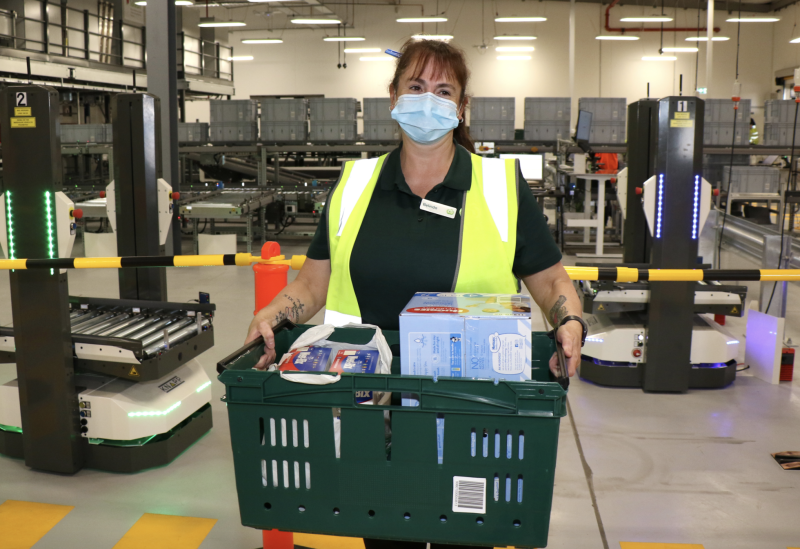 Pictured is a Woolworths employee working at the new eStore at Carrum Downs. Source: Woolworths