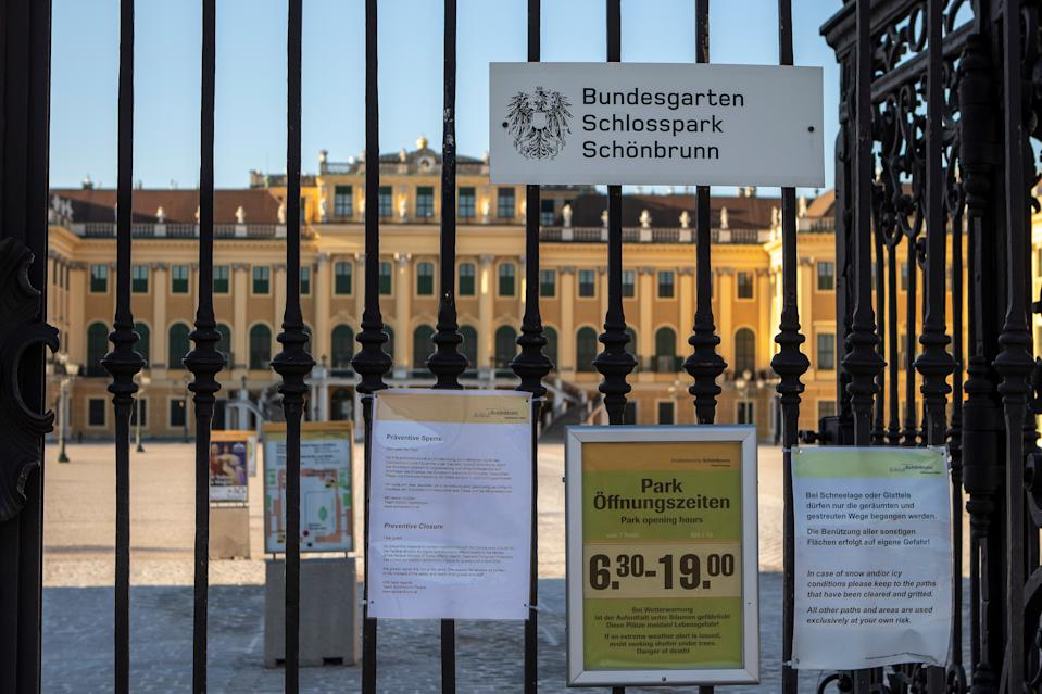 VIENNA, AUSTRIA - MARCH 15: Schoenbrunn Palace without tourists, with warning signs and information about the COVID-19 measures as Coronavirus affects everyday life in Austria at Schloss Schoenbrunn on March 15, 2020 in Vienna, Austria. (Photo by Johann Schwarz/SEPA.Media /Getty Images)