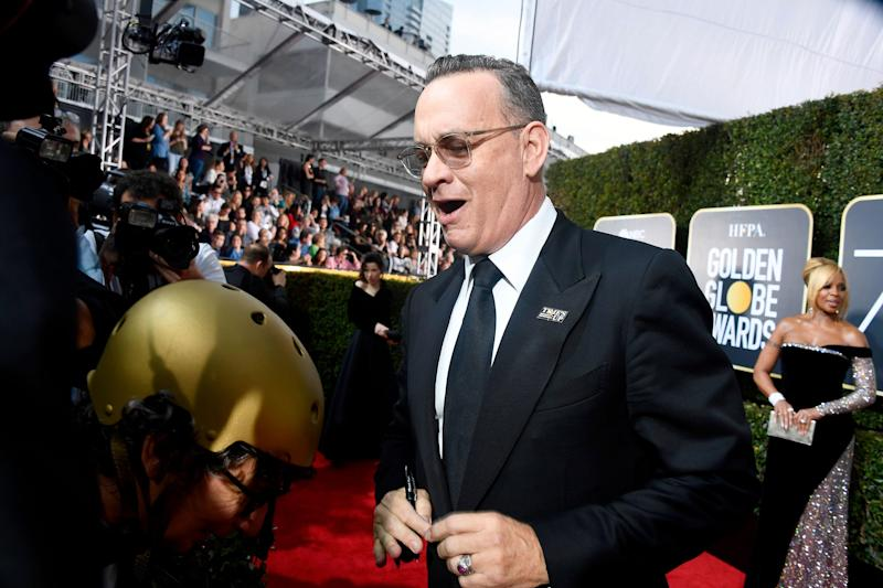 Tom Hanks' Reaction to Ricky Gervais' Monologue Is Officially 2020's Meme