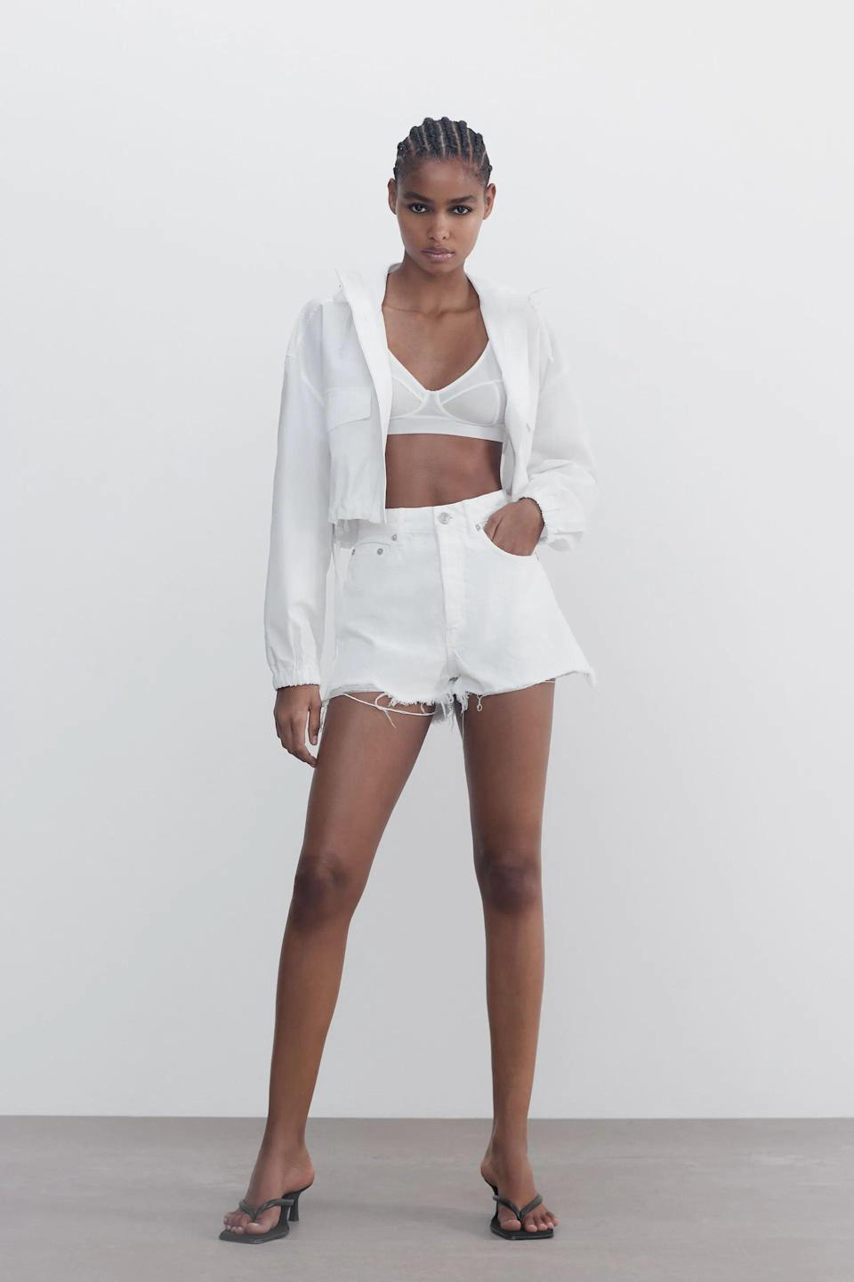 <p>If you're eyeing fresh white shorts for summer, these <span>Zara Frayed High Rise Denim Shorts</span> ($36) are it.</p>