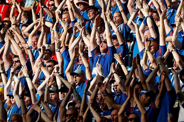 Soccer Football - World Cup - Group D - Nigeria vs Iceland - Volgograd Arena, Volgograd, Russia - June 22, 2018 Iceland fans during the match REUTERS/Jorge Silva TPX IMAGES OF THE DAY