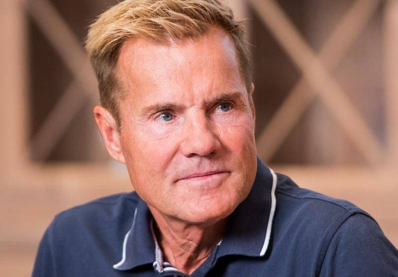 "18 September 2018, Schleswig-Holstein, Wentorf bei Hamburg: Dieter Bohlen, music producer, presents his advertising campaign ""Recommended by Bohlen"" in a furniture store and sits on a sofa. Photo: Daniel Bockwoldt/dpa (Photo by Daniel Bockwoldt/picture alliance via Getty Images)"