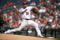 Washington Nationals starter Max Scherzer delivers a pitch during the third inning of the team's baseball game against the San Diego Padres, Sunday, July 18, 2021, in Washington. (AP Photo/Nick Wass)
