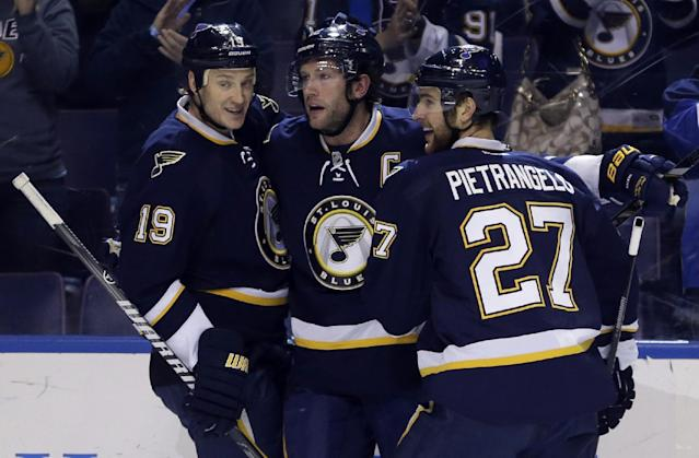 St. Louis Blues' David Backes, center, is congratulated by teammates Jay Bouwmeester, left, and Alex Pietrangelo after scoring during the second period of an NHL hockey game against the Dallas Stars, Saturday, Nov. 23, 2013, in St. Louis. (AP Photo/Jeff Roberson)