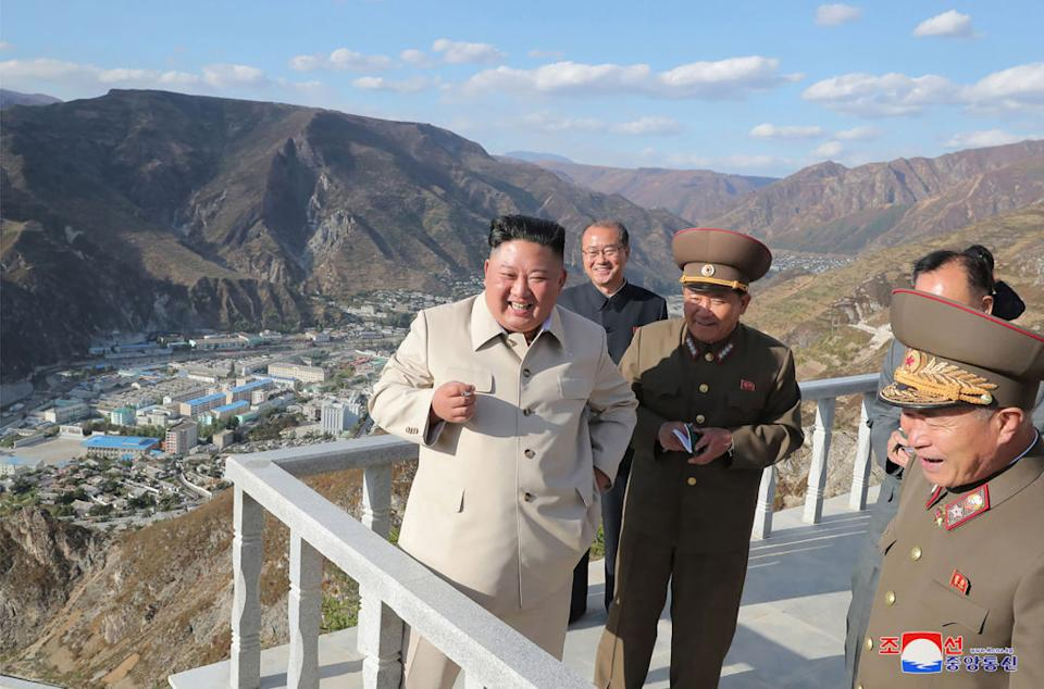 Kim Jong-un in North Korea overlooking at a military facility. Source: AFP