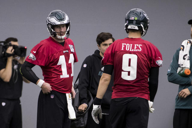 Philadelphia Eagles quarterback Nick Foles, who stepped in last season when teammate Carson Wentz, left, suffered a torn ACL, was the most popular NFL player in terms of merchandise sales for the first quarter of this year. (AP)