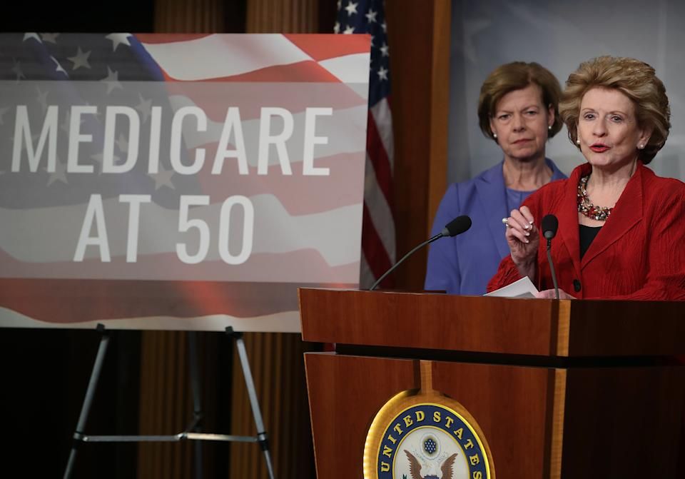 WASHINGTON, DC - FEBRUARY 13: Sen. Debbie Stabenow (D-MI) (R) and Sen. Tammy Baldwin (D-WI) participate in a news conference to announce legislation giving people between the ages of 50 and 64 the option of buying into Medicare on February 13, 2019 in Washington, DC. (Photo by Mark Wilson/Getty Images)