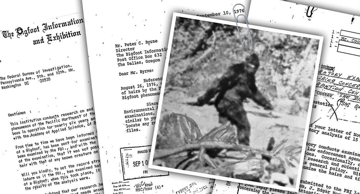 The FBI kept a Bigfoot file, which was released Wednesday. (Yahoo News photo Illustration; photos: AP, Getty Images)