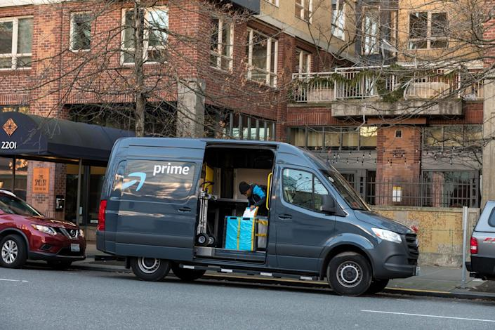 <p>Amazon Prime Now Delivery van and driver in Seattle, Washington, February 2020.</p> (Getty Images/iStock)