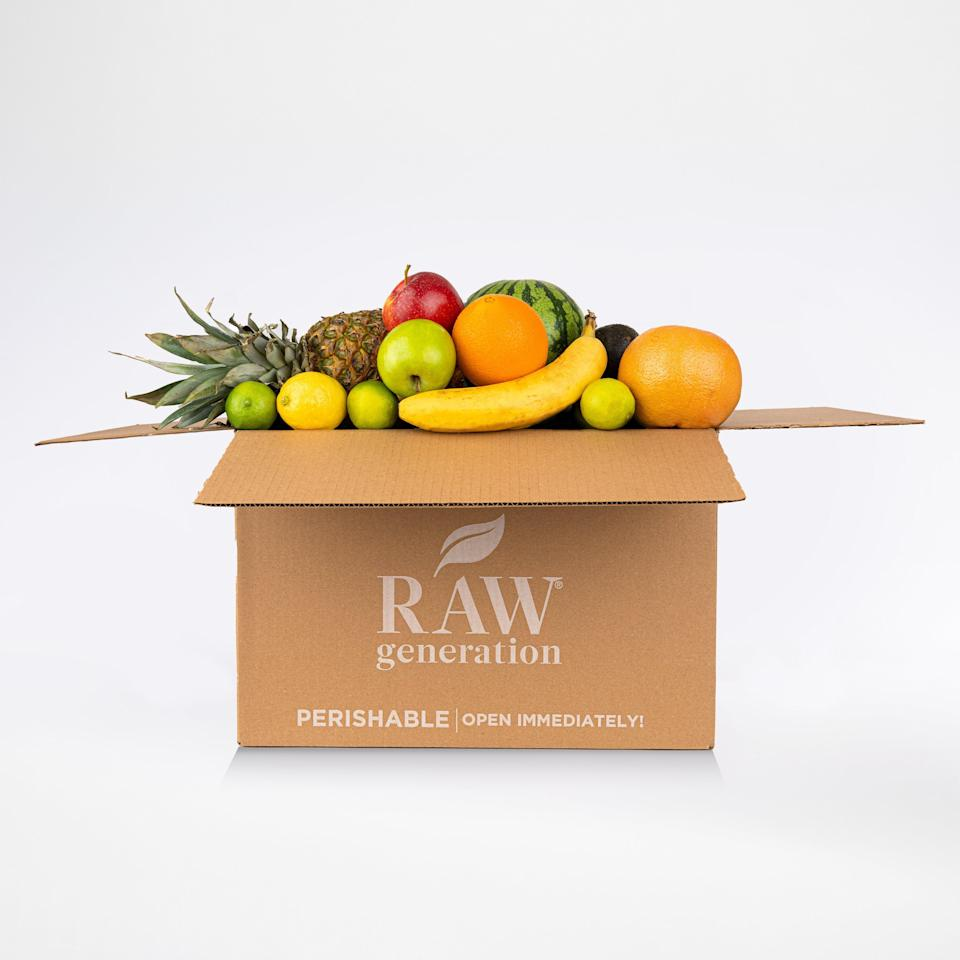 """<br> <br> <strong>Raw Generation</strong> Produce Delivery Fruit Box (25 lbs), $, available at <a href=""""https://go.skimresources.com/?id=30283X879131&url=https%3A%2F%2Fwww.rawgeneration.com%2Fproducts%2Fproduce-box"""" rel=""""nofollow noopener"""" target=""""_blank"""" data-ylk=""""slk:Raw Generation"""" class=""""link rapid-noclick-resp"""">Raw Generation</a>"""
