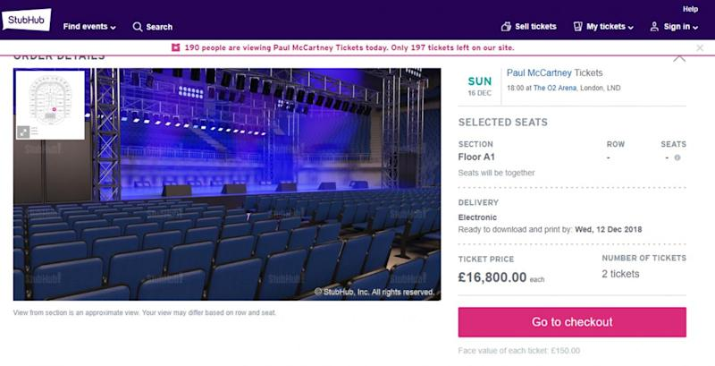 Flogging: Tickets were listed for nearly £17,000 for a pair (StubHub)