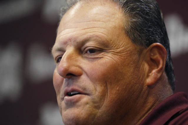 Mississippi State defensive coordinator Todd Grantham speaks to reporters about team goals this upcoming season during Media Day in Starkville, Miss., Tuesday, July 25, 2017. (AP Photo/Rogelio V. Solis)