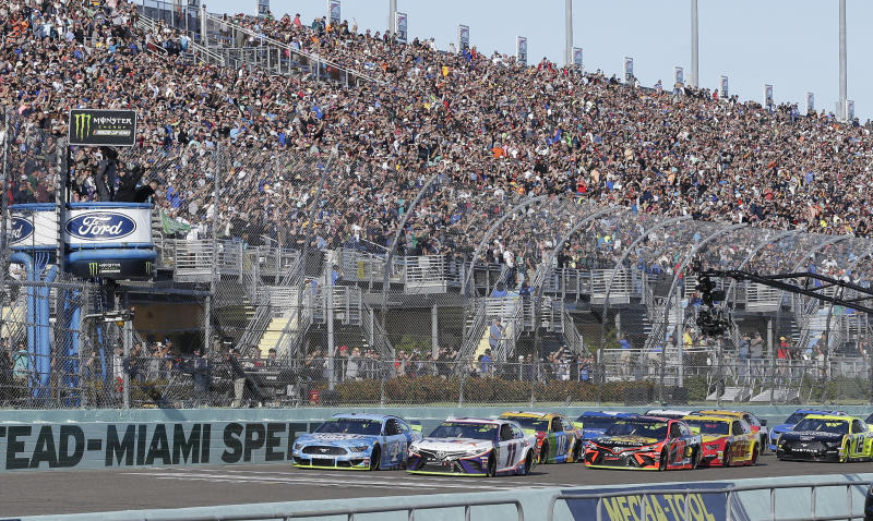 Military members, first responders and their families can come see the race at Homestead-Miami Speedway in Homestead, Florida. They will be able to get in free. (AP Photo/Terry Renna)