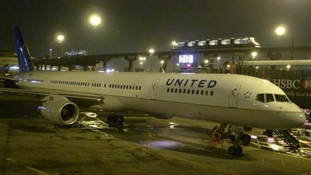 United Airlines airplane painted in new corporate logo is seen ate at Liberty International Airport in Newark,