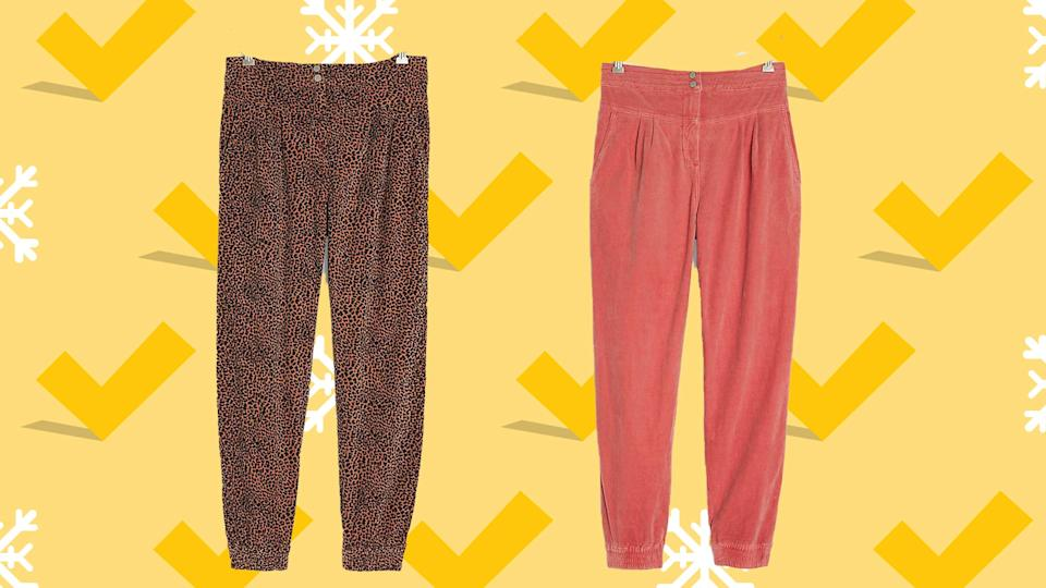 These joggers come in three fun colors.