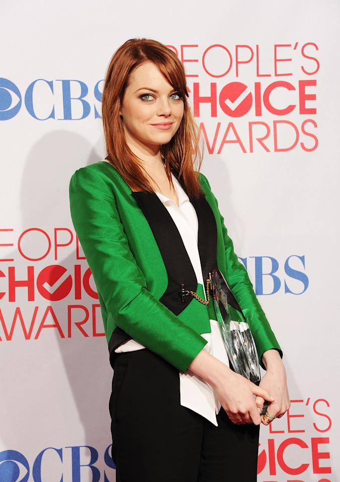 LOS ANGELES, CA - JANUARY 11:  Actress Emma Stone poses in the press room during the 2012 People's Choice Awards at Nokia Theatre L.A. Live on January 11, 2012 in Los Angeles, California.  (Photo by Jason Merritt/Getty Images)