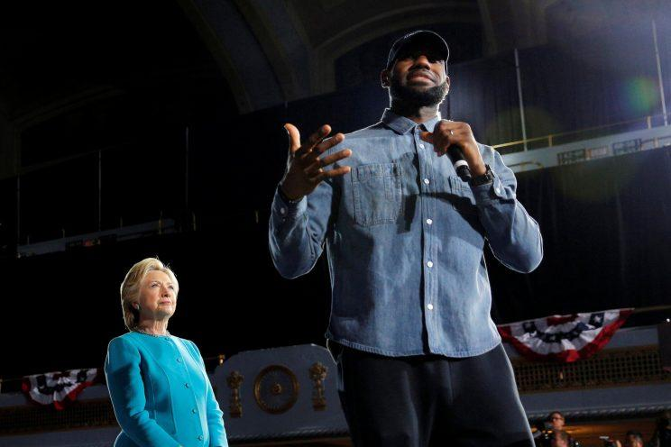 Hillary Clinton introduced at a campaign rally by the Cleveland Cavaliers LeBron James. (Photo: Brian Snyder/Reuters)