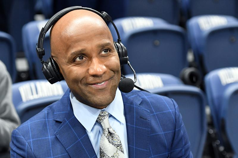 College basket announcer Brian Custer on the air before a college basketball game between the Villanova Wildcats and the DePaul Blue Demons at the Finneran Pavilion on January 14, 2020. (Photo by Mitchell Layton/Getty Images)