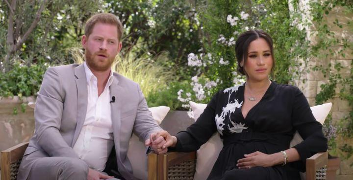 Harry and Meghan during Oprah interview