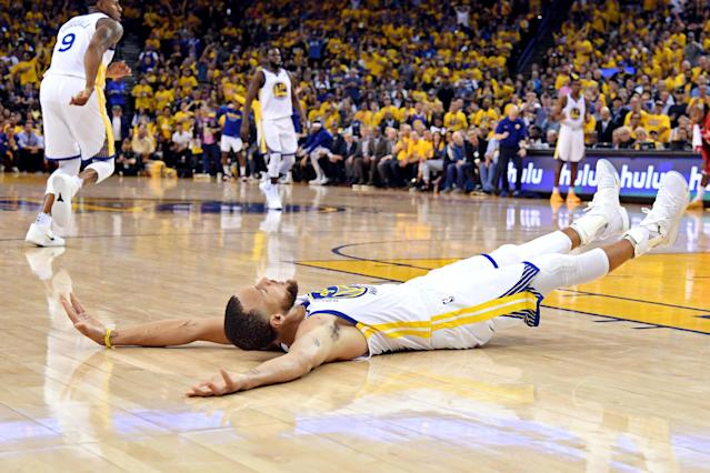 May 20, 2018; Oakland, CA, USA; Golden State Warriors guard Stephen Curry (30) reacts after a play during the third quarter against the Houston Rockets in game three of the Western conference finals of the 2018 NBA Playoffs at Oracle Arena. Mandatory Credit: Kyle Terada-USA TODAY Sports TPX IMAGES OF THE DAY