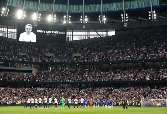 A minute's applause took place for Jimmy Greaves at Tottenham Hotspur Stadium where two of his old clubs did battle. He scored 266 goals for Spurs having found the net on 132 occasions for Chelsea