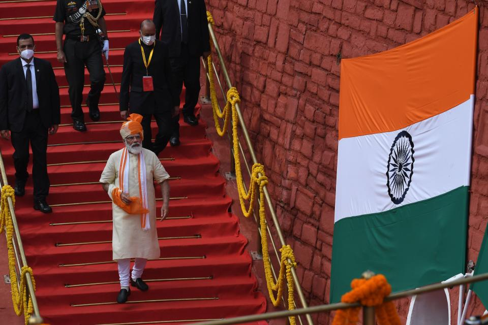 India's Prime Minister Narendra Modi leaves after his speech to the nation during a ceremony to celebrate India's 74th Independence Day in New Delhi on August 15, 2020. (Photo by PRAKASH SINGH/AFP via Getty Images)