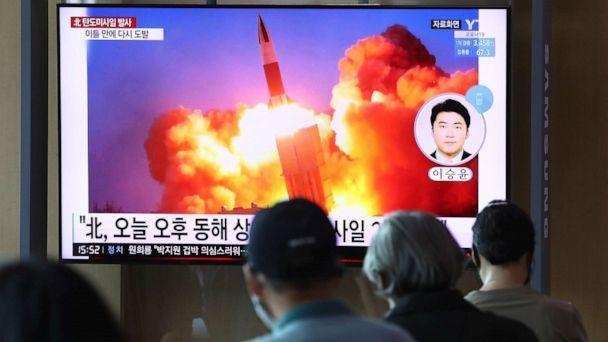 PHOTO: People watch a television at the Seoul railway station, showing a file image of a North Korean missile launch, in Seoul, South Korea, on Sept. 15, 2021. (Chung Sung-jun/Getty Images)