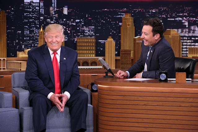 """Then-presidential candidate Donald Trump and Jimmy Fallon during a taping of """"The Tonight Show"""" on Sept. 15, 2016. (NBC via Getty Images)"""
