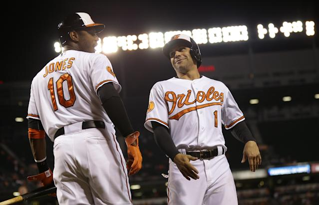 Baltimore Orioles' Brian Roberts, right, smiles at teammate Adam Jones as he walks off the field after scoring on a double by Nick Markakis in the third inning of a baseball game against the Toronto Blue Jays, Thursday, Sept. 26, 2013, in Baltimore. (AP Photo/Patrick Semansky)