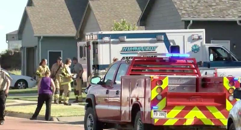 Emergency vehicles responding to a dog mauling a baby boy in South Dakota.