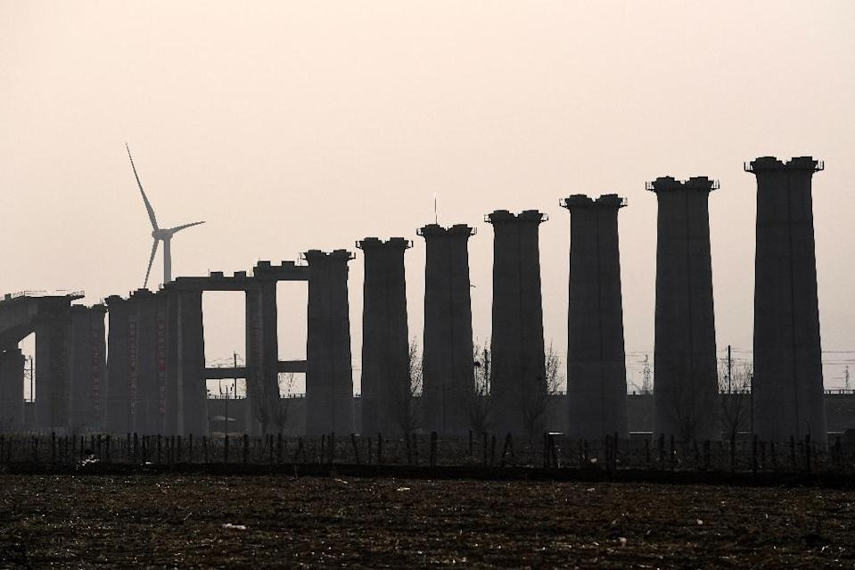 A high-speed rail line from Beijing to Chongli is under construction ahead of the Winter Games (AFP Photo/Greg Baker)