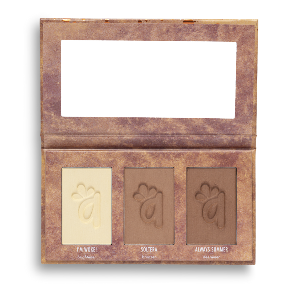 """<p>alamarcosmetics.com</p><p><strong>$25.00</strong></p><p><a href=""""https://alamarcosmetics.com/collections/best-sellers/products/brighten-bronze-complexion-trio-medium-tan"""" rel=""""nofollow noopener"""" target=""""_blank"""" data-ylk=""""slk:Shop Now"""" class=""""link rapid-noclick-resp"""">Shop Now</a></p><p>CEO <a href=""""https://www.instagram.com/gabyteemua/?hl=en"""" rel=""""nofollow noopener"""" target=""""_blank"""" data-ylk=""""slk:Gabriela Trujillo"""" class=""""link rapid-noclick-resp"""">Gabriela Trujillo</a> named her brand <a href=""""https://alamarcosmetics.com/"""" rel=""""nofollow noopener"""" target=""""_blank"""" data-ylk=""""slk:Alamar Cosmetics"""" class=""""link rapid-noclick-resp"""">Alamar Cosmetics</a> after the barrio (or town, in English) she was born in in Cuba. Her line has grown to include lip glosses, lip liners, eyeshadow palettes, and intensely pigmented blush palettes, too. </p>"""